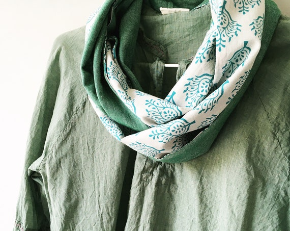 Green and White blockprint infinity scarf