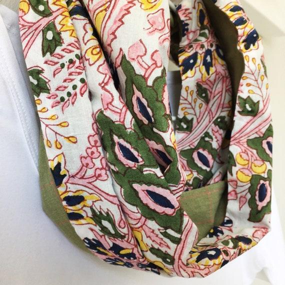 Floral blockprint infinty scarf