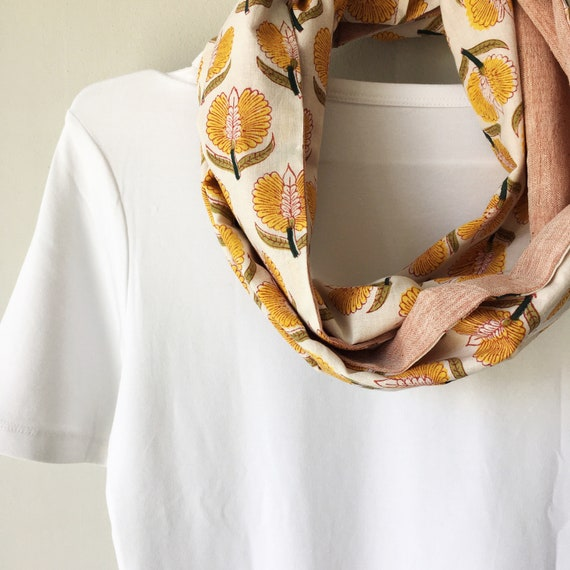 Yellow Floral and Coral Pink blockprint infinty scarf