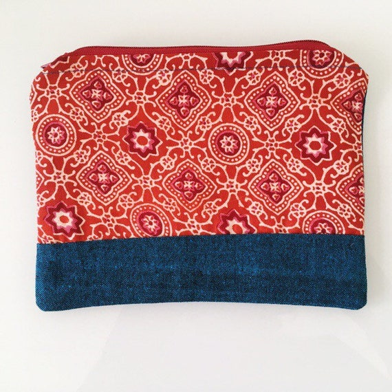 SMALL Zippered Pouch Red Orange and Teal Green