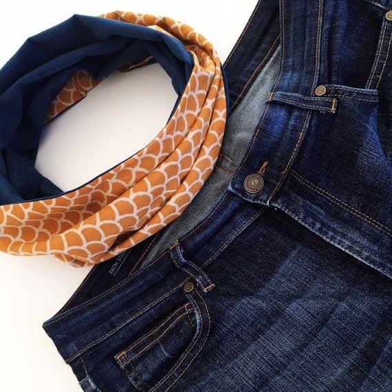 Mustard blockprint and navy jersey infinty scarf