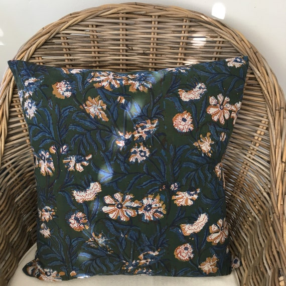 Floral Block Print Cotton Cushion Cover