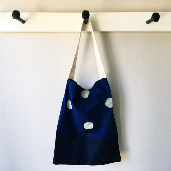 Indigo Spot Block Print and Denim Tote Bag