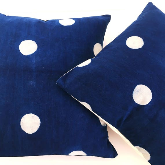 Indigo Block Print Cotton Cushion Cover