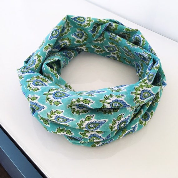 Light Green and Cornflower Blue Floral Cotton Block Printed Infinity Scarf