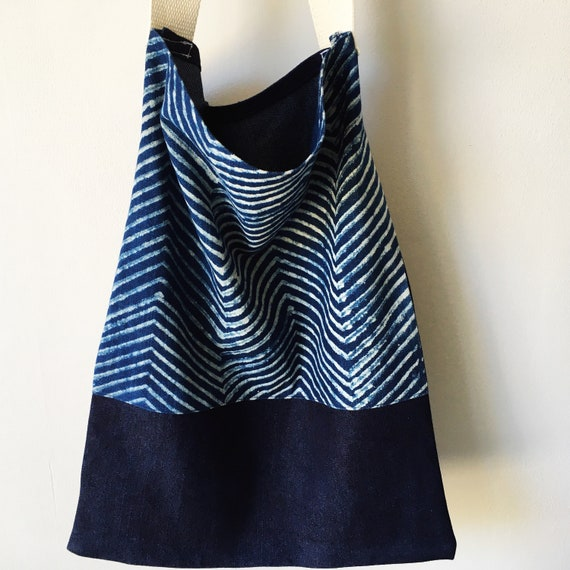 Indigo Herringbone Block Print and Denim Tote Bag
