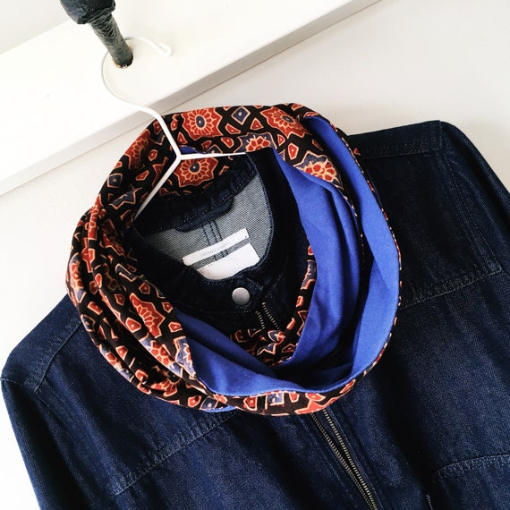 Ajrakh blockprint and cornflower blue jersey infinty scarf