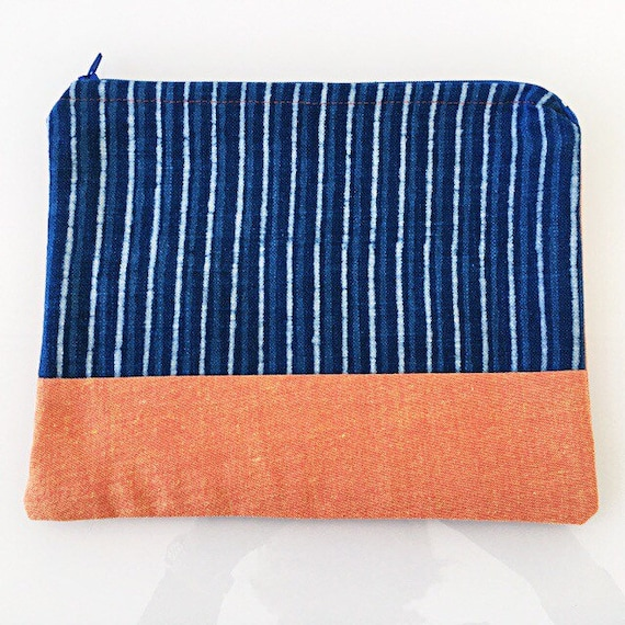 LARGE Zippered Pouch Indigo Stripe and Orange