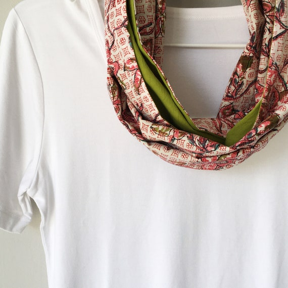 Pink Floral and Lime Green blockprint infinty scarf