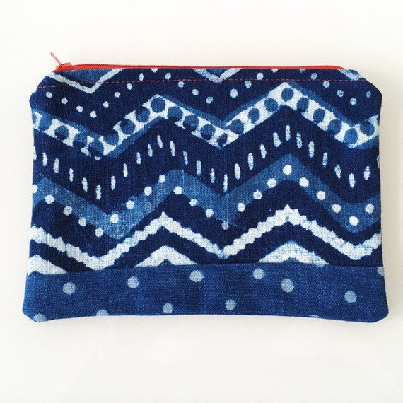 SMALL Zippered Pouch Indigo Blue Chevron and Dots