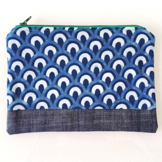 SMALL Zippered Pouch Indigo and Denim Blue