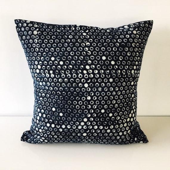 Dark Indigo Block Printed Cotton Cushion Cover