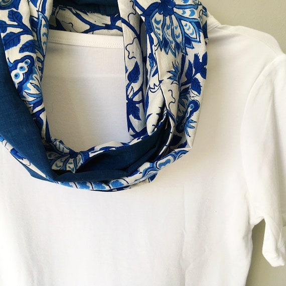 Blue and White blockprint infinty scarf