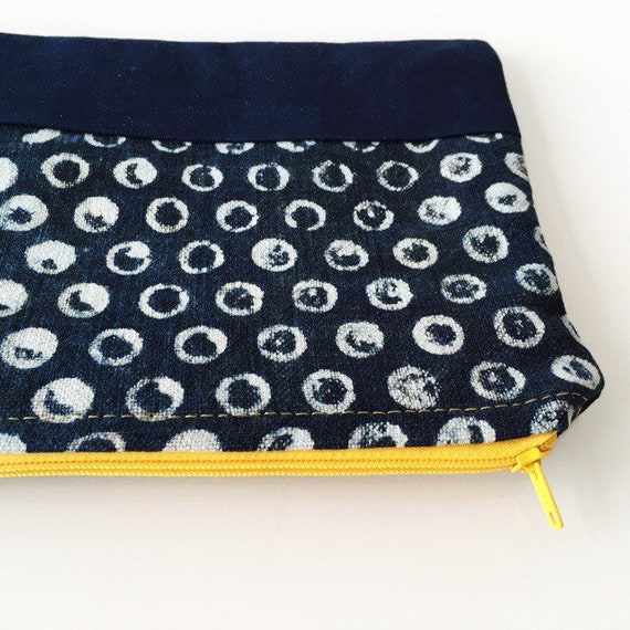 SMALL Zippered Pouch Indigo Dot and Yellow Zipper