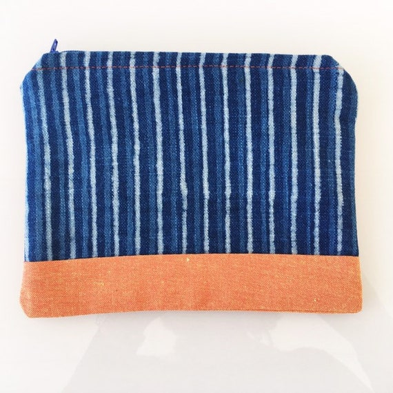 SMALL Zippered Pouch Indigo Stripes and Orange