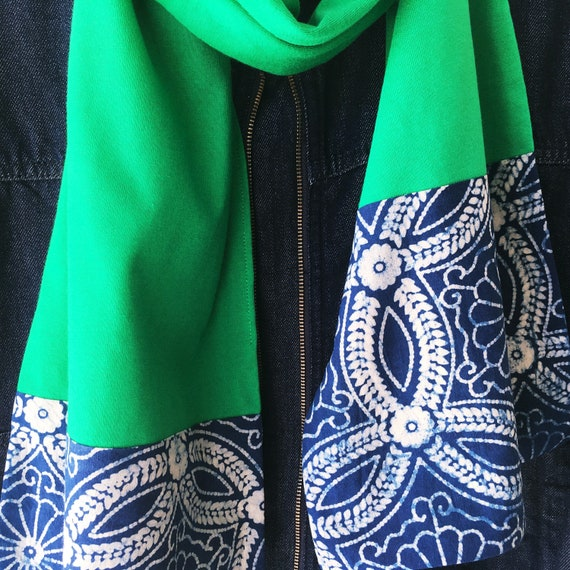 Kelly Green and Indigo Block Print Cotton & Jersey Scarf
