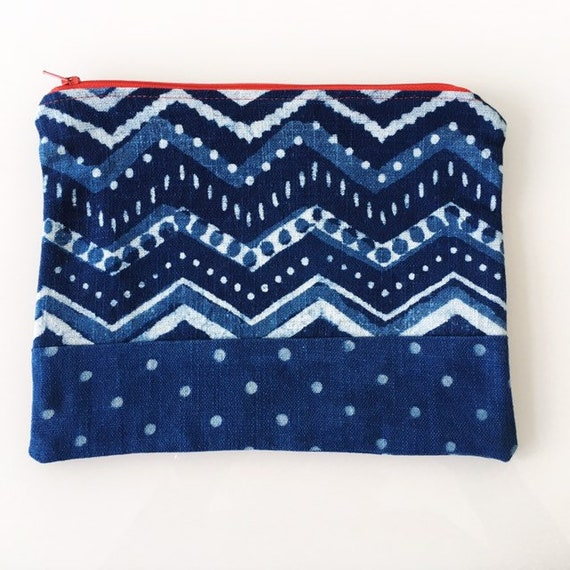 LARGE Zippered Pouch Indigo Chevron and Spots
