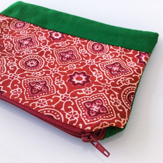 SMALL Zippered Pouch Red Orange and Kelly Green