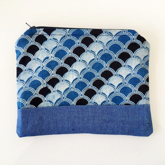 SMALL Zippered Pouch Indigo Blue