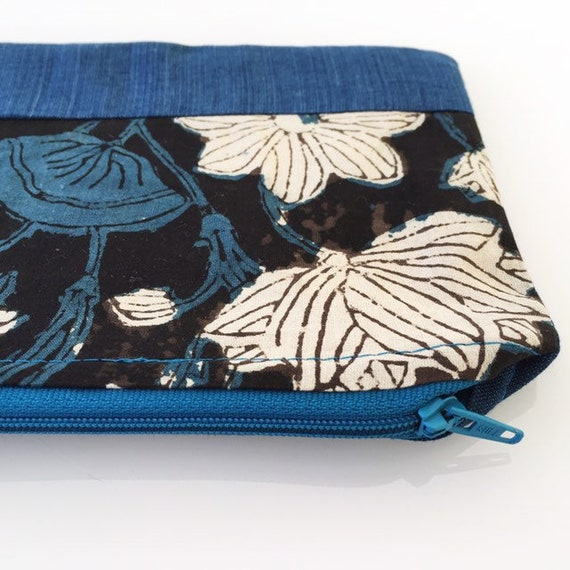 SMALL Zippered Pouch Teal Blue Floral