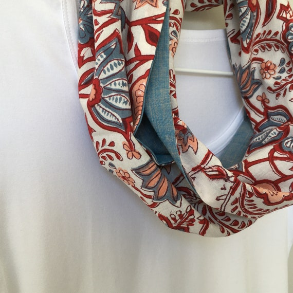 Red And Blue Floral blockprint infinty scarf