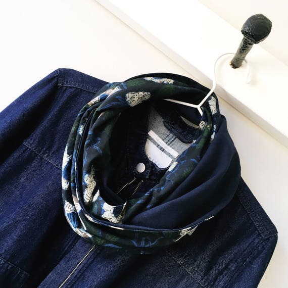 Floral blockprint and navy jersey infinty scarf
