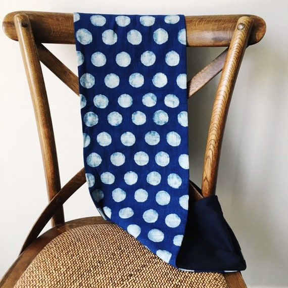 Indigo Spotty Cotton Blockprint and Navy Jersey Infinity Scarf