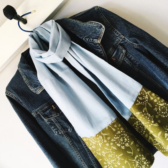 Sky Blue Block Print Cotton Scarf