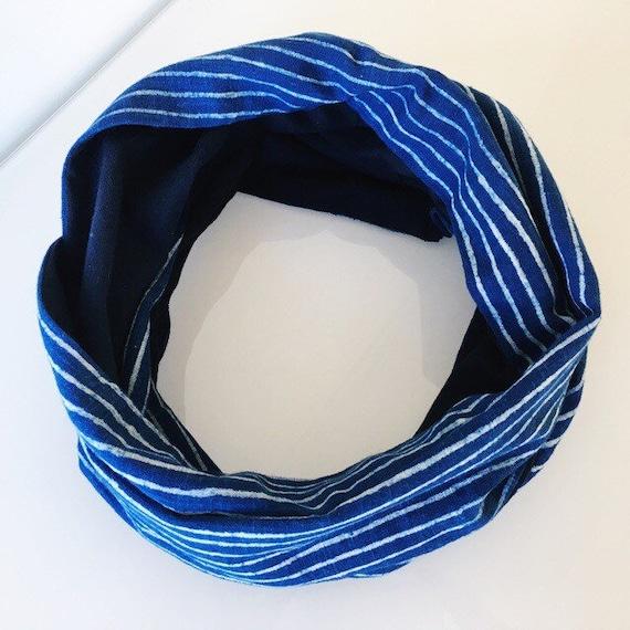 Indigo blockprint and navy jersey infinty scarf