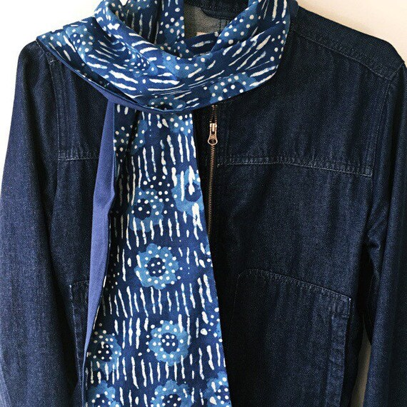 Indigo Cotton and French Navy Jersey Block Print Scarf