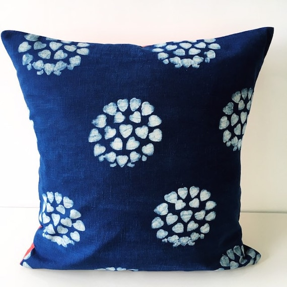 Indigo Hearts & Orange Pink Block Print Cotton Cushion Cover