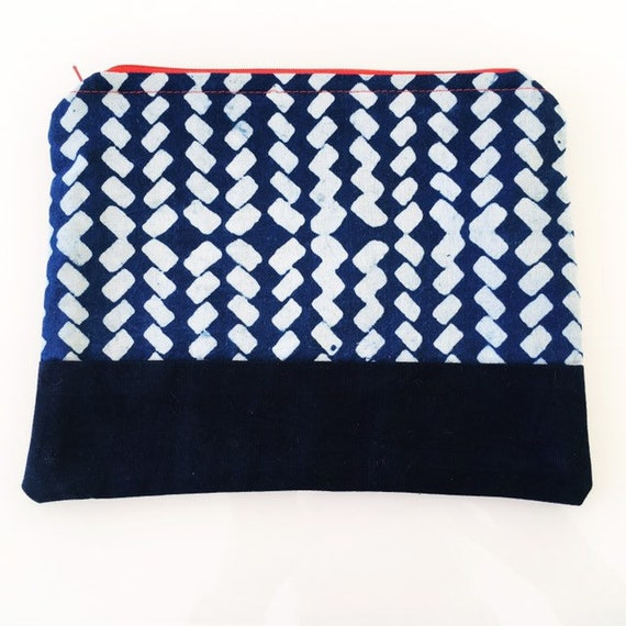 LARGE Zippered Pouch Indigo Blue and Red Zipper