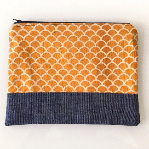 LARGE Zippered Pouch Mustard Yellow and Denim Blue