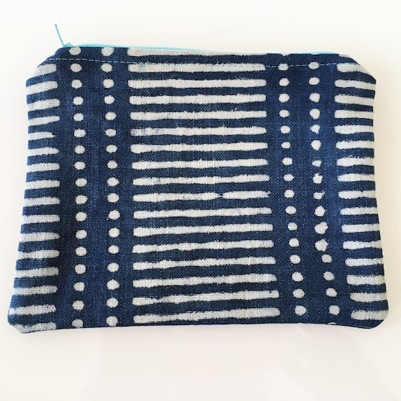 SMALL Zippered Pouch Indigo Spots and Stripes