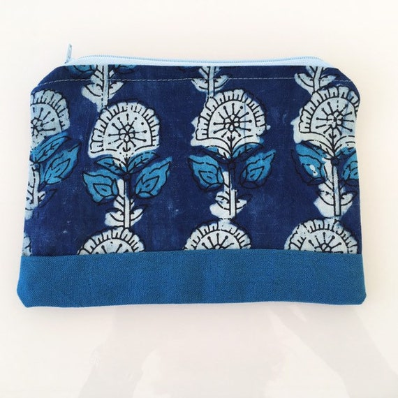 SMALL Zippered Pouch Indigo Floral and Blue