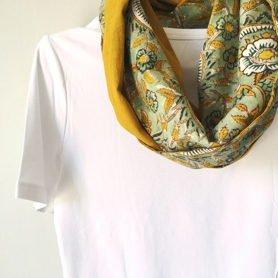 Green Floral and Mustard blockprint infinty scarf