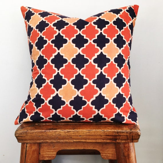 Orange & Indigo Block Print Cotton Cushion Cover
