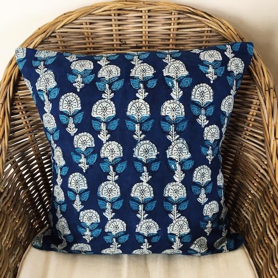 Indigo Block Print Cotton Cushion Cover