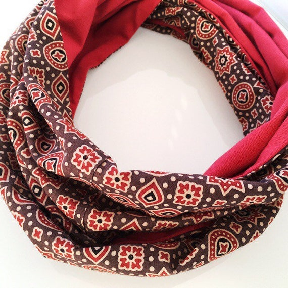 Ajrakh brown red blockprint and Spanish red jersey infinty scarf