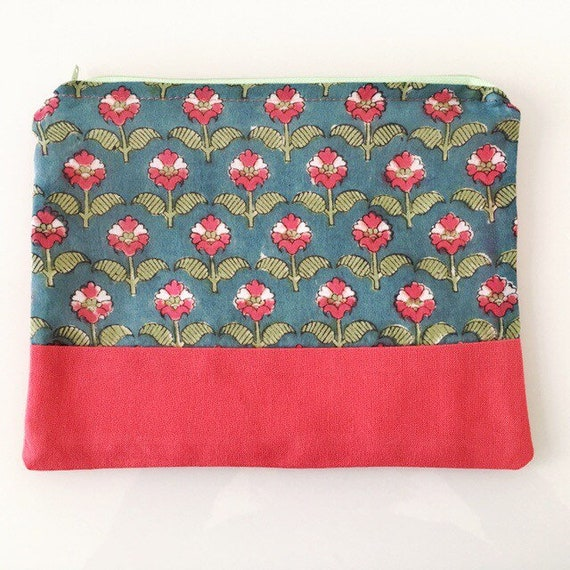 LARGE Zippered Pouch Green Grey Blue and Watermelon Pink