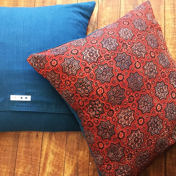 Ajrakh Block Print Cotton Cushion Cover