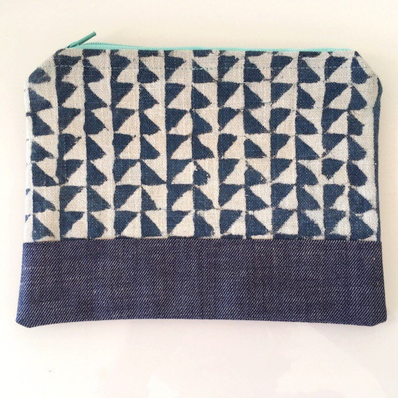 SMALL Zippered Pouch Grey Blue and Denim Blue