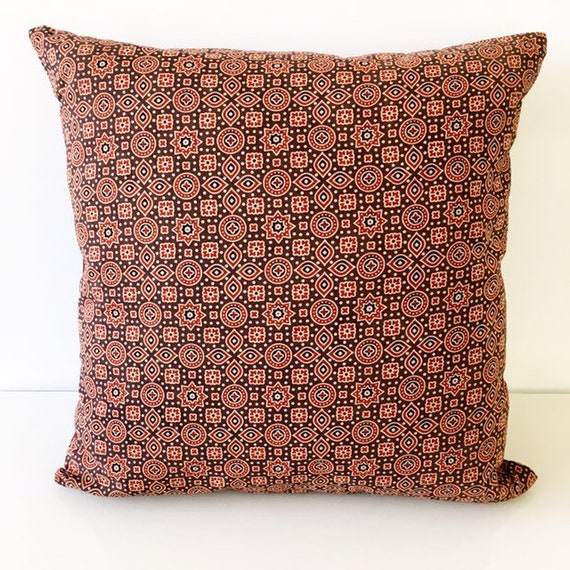 Brown Red Maroon Ajrakh Block Print Cotton Cushion Cover