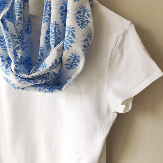 Blue and White Cotton Blockprinted Infinity Scarf