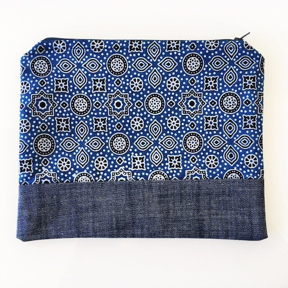 LARGE Zippered Pouch Indigo and Denim Blue
