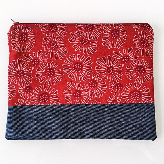 LARGE Zippered Pouch Red and Denim Blue