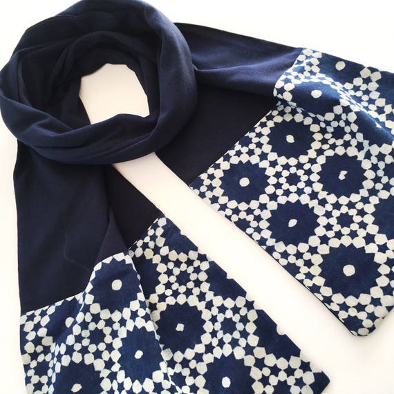 Navy and Indigo Block Print Cotton & Jersey Scarf