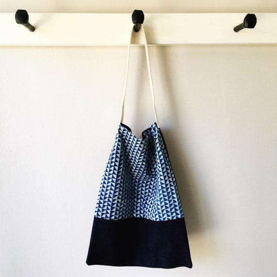 Indigo Block Print and Denim Tote Bag