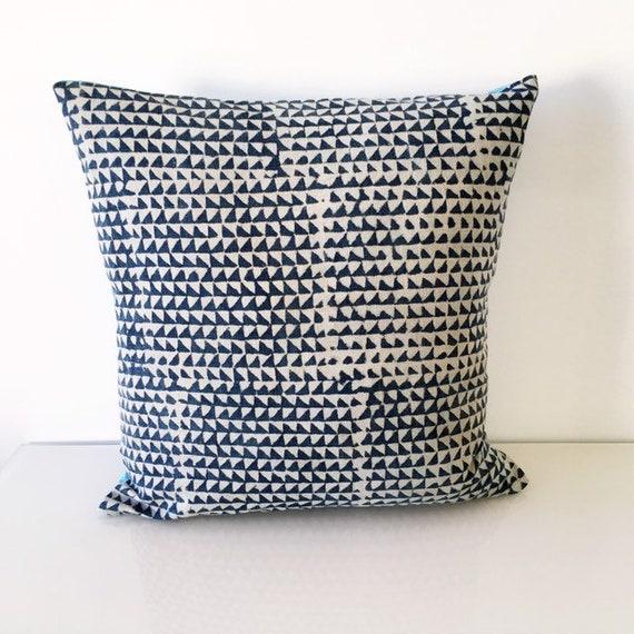 Slate Blue Indigo and Aqua Blue Block Printed Cotton Cushion Cover