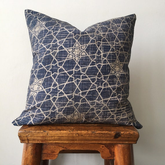 Indigo Ajrakh & Denim Block Print Cotton Cushion Cover